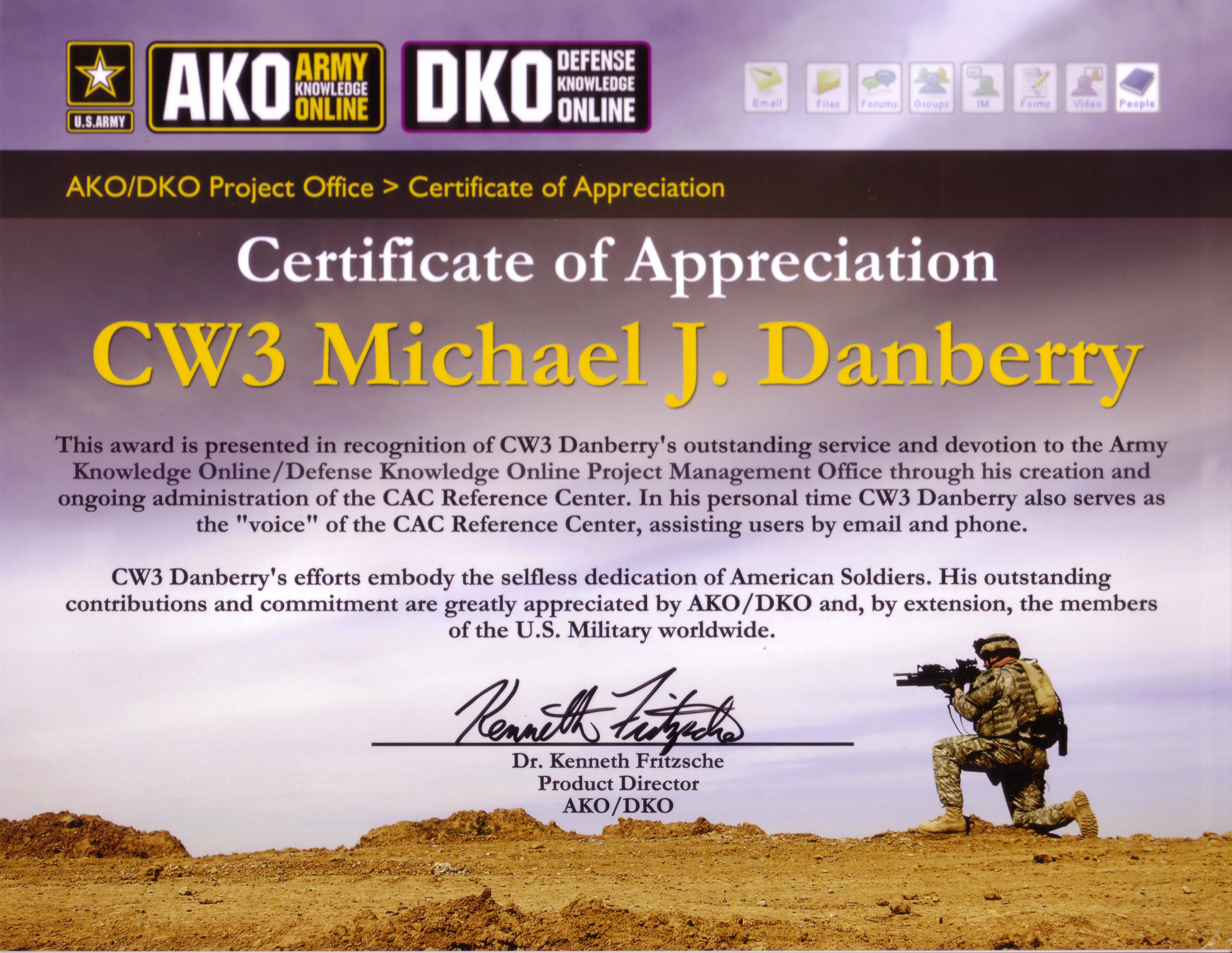 Militarycacs news page certificate of appreciation xflitez Gallery