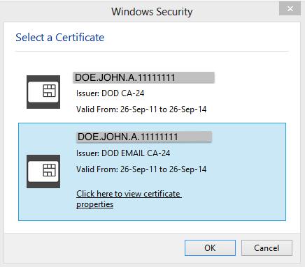 Windows 8 Certificate Selector
