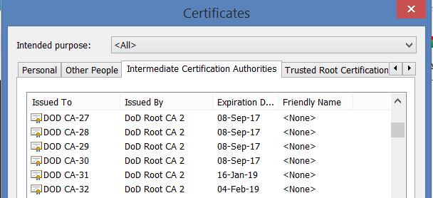 dod verify issued militarycac certificates intermediate authorities certification column scroll tab letters down