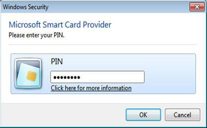 Windows 7 image showing PIN entered
