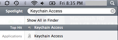 Typing Keychain Access into Spotlight